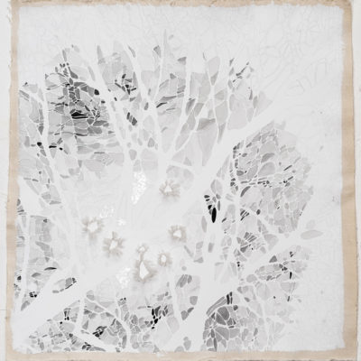 looking for grey, study #2, 2014. pencil, watercolour, acrylic, sewing thread, marble dust and gesso on unstretched canvas, 48x46cm/17x20in