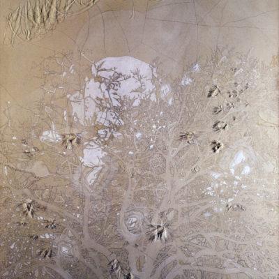 Senza titolo, 2004. Matita, acquarello, acrilico e filo da cucire su tela grezza. 180x140cm