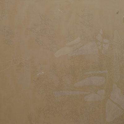 Senza titolo, 2006. Matita, acquarello e filo da cucire su tela grezza. 140x120cm