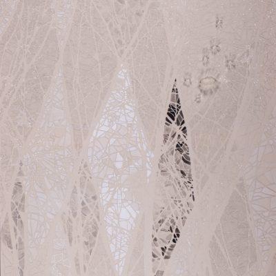 Immagina, 2014. Matita, gouache, acrilico e filo da cucire su tela grezza. 155x87cm.