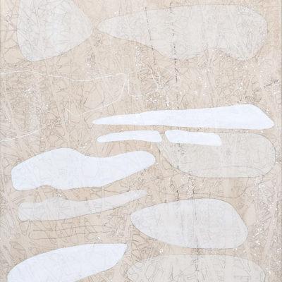 Senza titolo  (omaggio a Georgia O'Keeffe), 2005. Matita, acquarello e acrilico su tela. 150X80cm