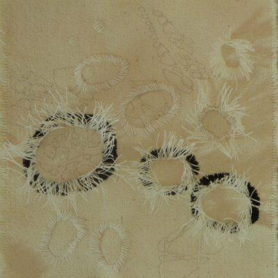 Bubbles #2, 2015. Pencil and sewing thread on raw, canvas. 15x14cm/5.9x5.5in