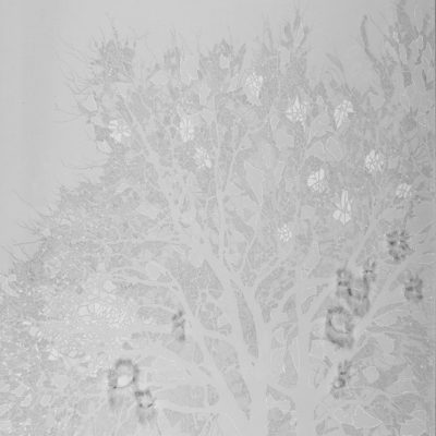Appartengo a questo, 2014. Matita, acquarello, acrilico e filo da cucire su tela grezza. 106x80cm