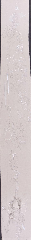 Senza titolo, 2013. Matita, acquarello, acrilico e filo da cucire su tela grezza. 159x18cm