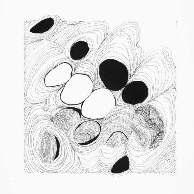 Bolle - studio #10. inchiostro, gouache e  collage su carta museale. 16x15cm -2016